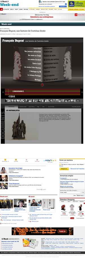 """Webdoc """"ambientado"""" na página do Le Monde: uso intensivo da barra de rolagem"""