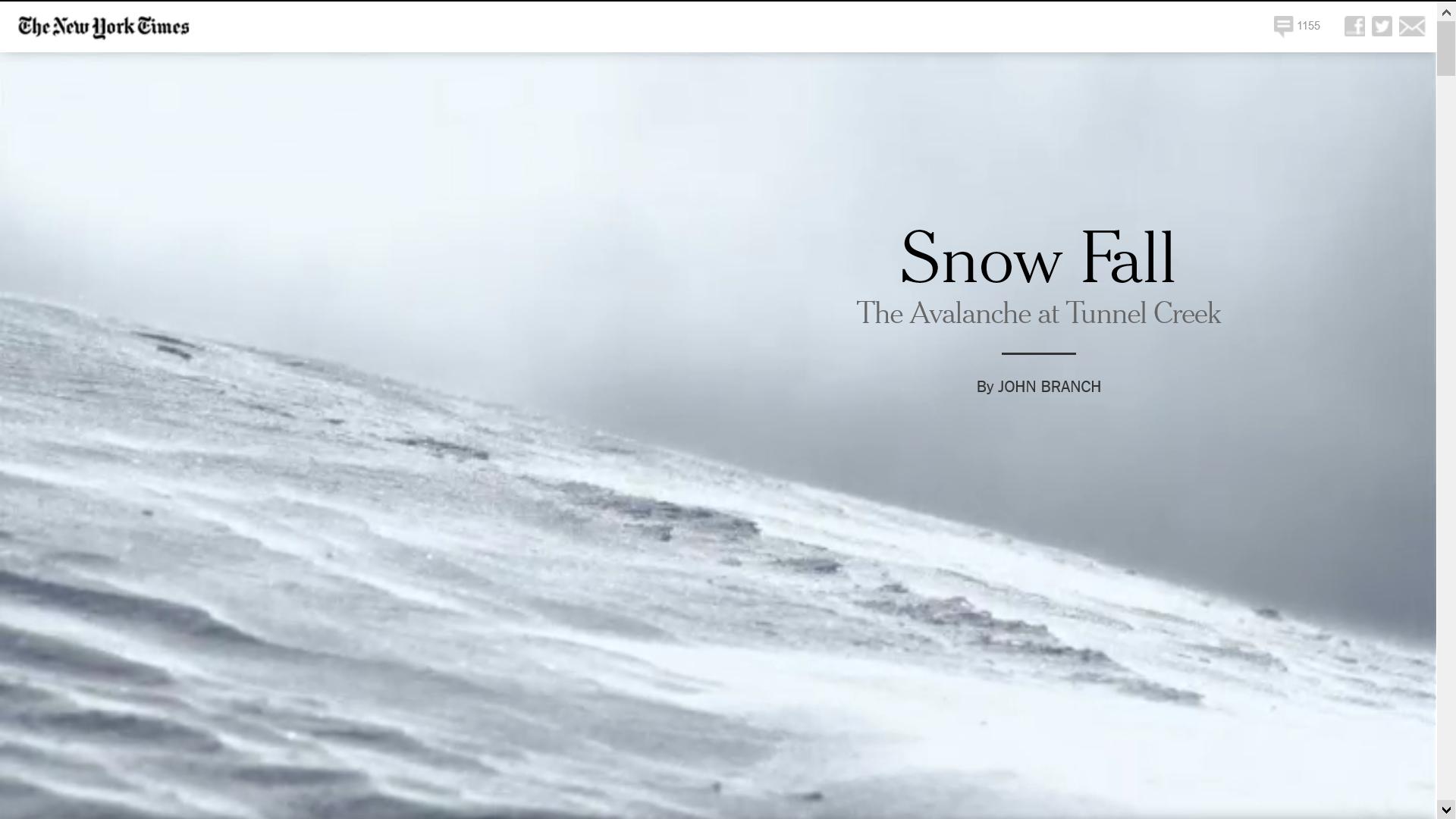 Reprodução da página inicial do especial multimídia Snow Fall, do New York Times